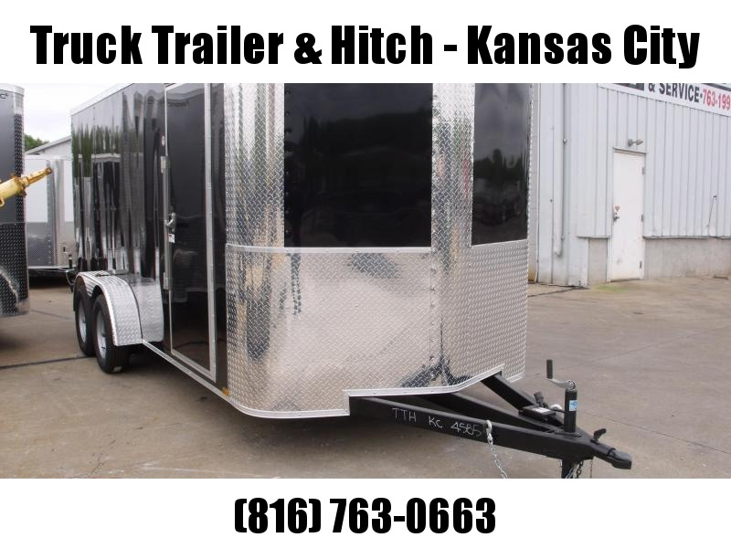 "Enclosed Trailer 7 X 16 Ramp 6' 6"" Interior Height   Black  In Color ALL Tube Construction"