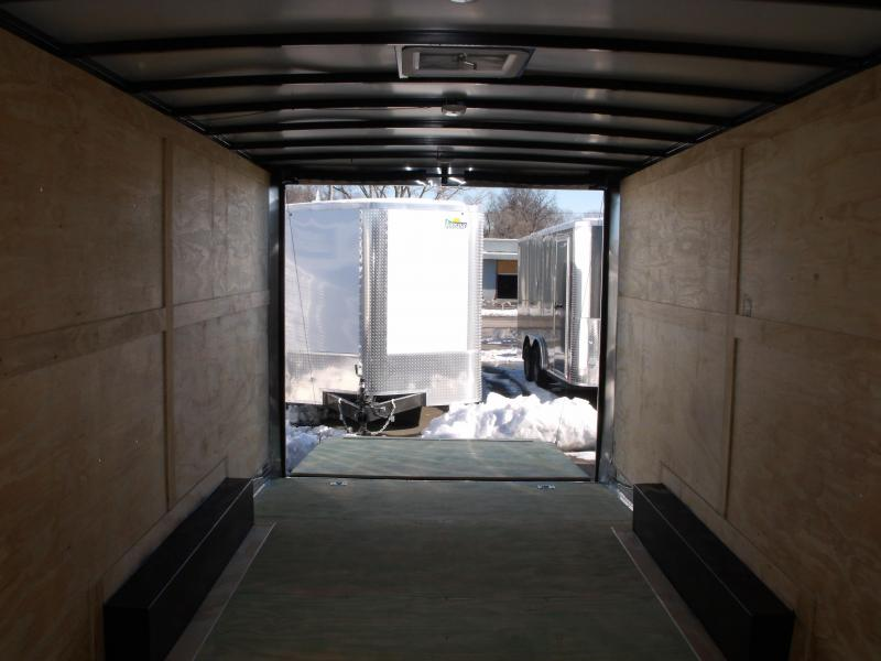 Enclosed Trailer 8.5 X 20 Dove Tail With HD Ramp   7'  Interior 9990 GVW ALL TUBE Construction Two Tone IN Color  Front/Silver Mist Rear Black   4 Wheel Brakes