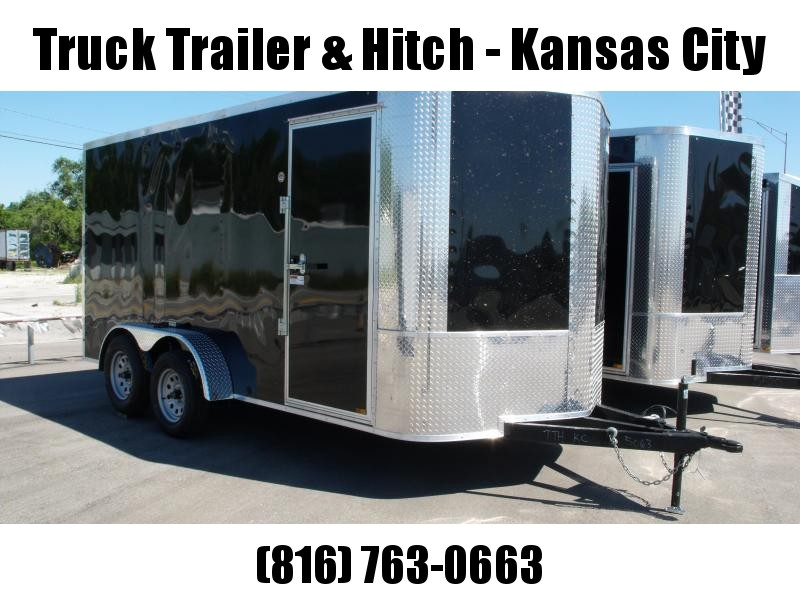 """Enclosed Trailer Soft  Nose  7 X 14 Ramp 6' 6"""" Tall  7000 GVW BLACK In Color ALL Tube Construction"""