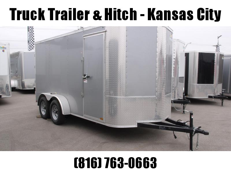 """Enclosed Trailer 6 X 14  BARN DOOR EXTRA HEAVY HINGES   Silver Mist   In Color 7000 GVW 6' 6"""" Height"""
