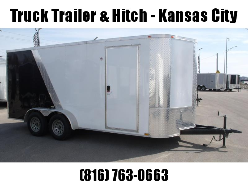 "Enclosed Trailer 7 X 16 Ramp 6' 3"" Interior Height Two Tone In  Color ( White Front/ Black Rear))  ALL Tube Construction"