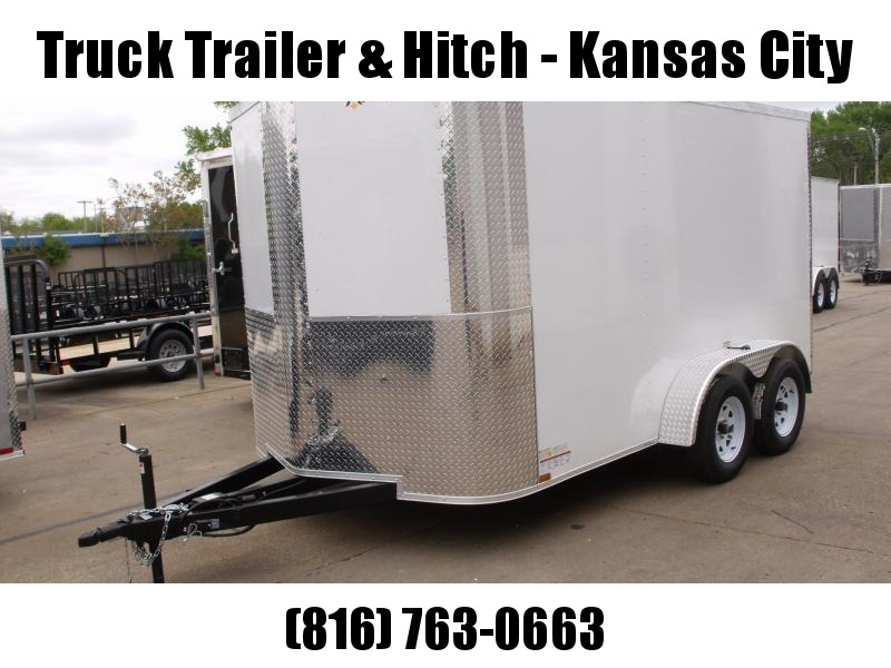 """Enclosed Trailer 7 X 12 Ramp 6' 6"""" Height 7000 GVW White In Color  All Tube Construction"""