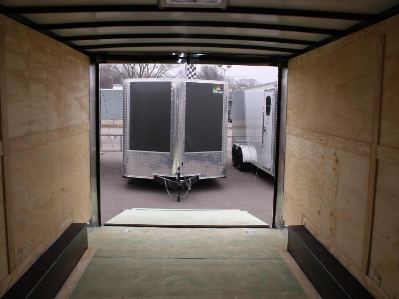 Enclosed Trailer 8.5 X 16 Dove Tail With HD Ramp   7'  Interior 9990 GVW ALL TUBE Construction Two Tone IN Color Black In Color   4 Wheel Brakes