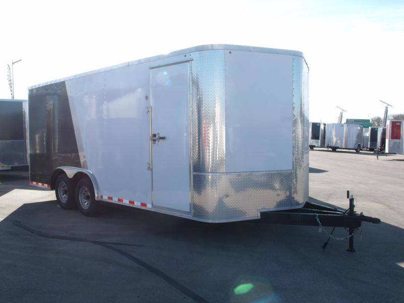 Enclosed Trailer 8.5 X 18 Ramp   7 ' Interior  Color Two Tone Wh Front/Black Rear  9990 GVW  (HEAVY DUTY DOOR)  ALL TUBE Construction  4 Wheel Brakes