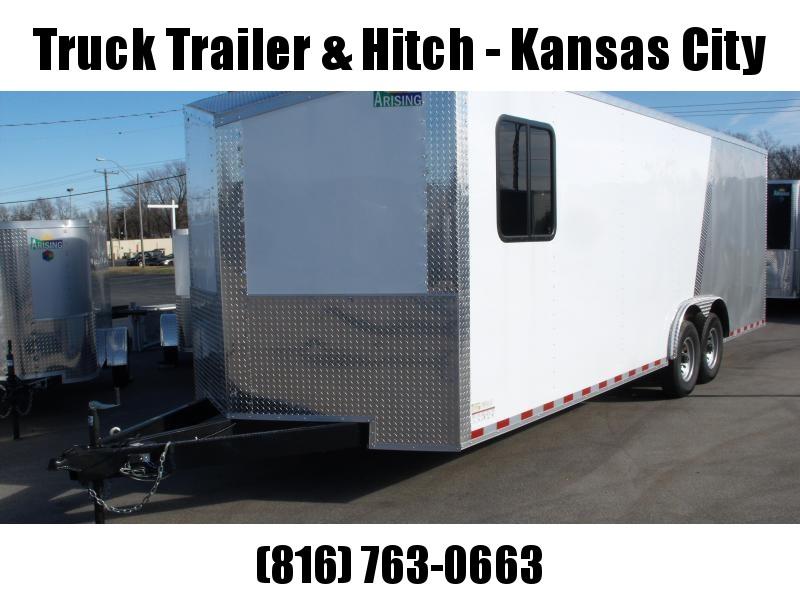 Enclosed Trailer Razor Trailer Insulated Trailer  8.5 X 24 V Nose 7' Tall Dove Tail White Front /Silver Mist Rear   14 K  30 Amp Service