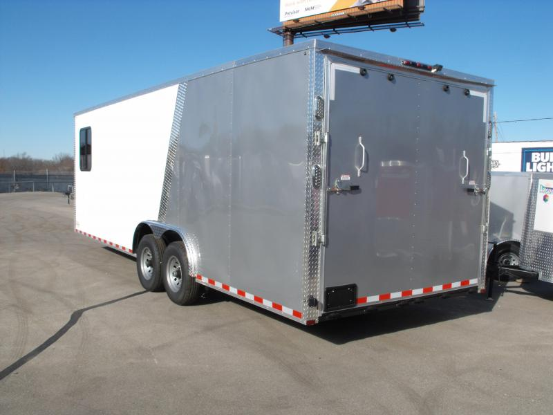 Enclosed Trailer Razor Trailer Insulated Trailer  8.5 X 24 V Nose 7' Tall Dove Tail White Front /Silver Mist Rear   14 K  30 Amp Service