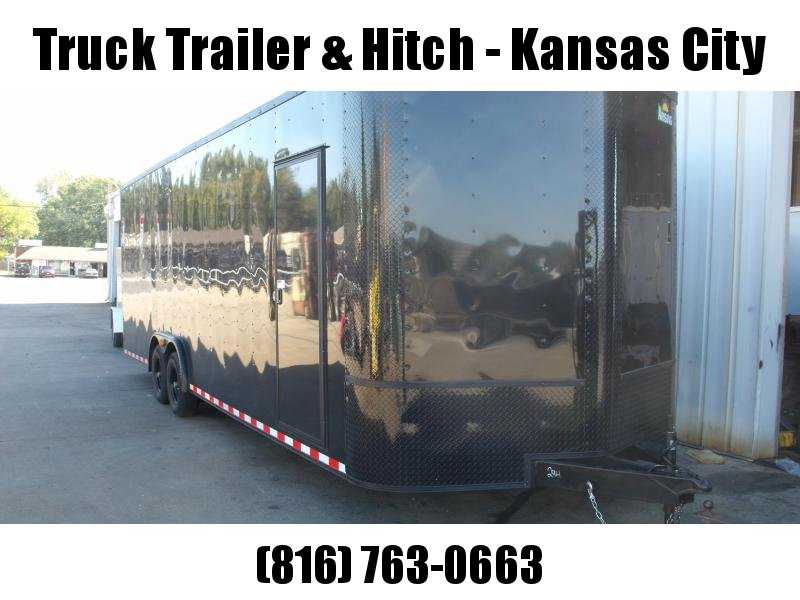 "Enclosed Trailer Wedge Nose 8.5 X 26 Ramp 7' 6"" Interior Height  100400 GVW  Black (( With Black Out Package))  In  ALL Tube Construction"