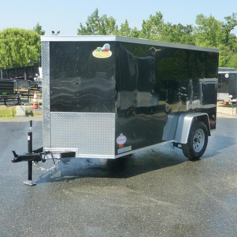 Covered Wagon Black 6' X 10' V-Nose Enclosed Cargo Trailer w/Ramp
