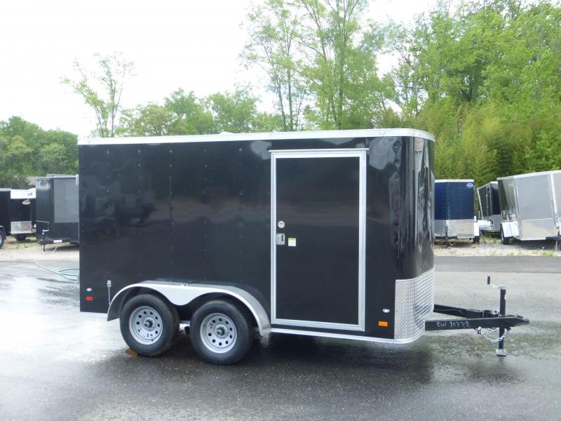 Covered Wagon Trailers 7' X 12' Black Tandem Axle Enclosed Cargo Trailer w/Cargo Doors in the Rear