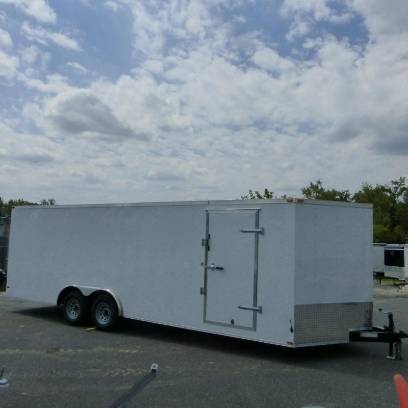 Lark 8.5 x 24' V Nose Enclosed Car Hauler Trailer w/Torsion Axles - 10K