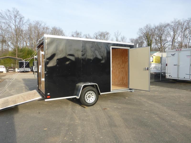 Covered Wagon Black 6' X12' V-Nose Enclosed Cargo Trailer w/Ramp