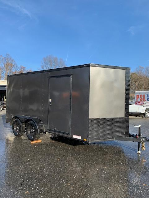 Diamond Cargo 7' x 14' Charcoal Enclosed Cargo Trailer with Ramp & Blackout Package
