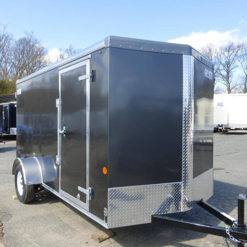 Car Mate 6' x 12' Charcoal Enclosed Cargo Trailer w/Ramp