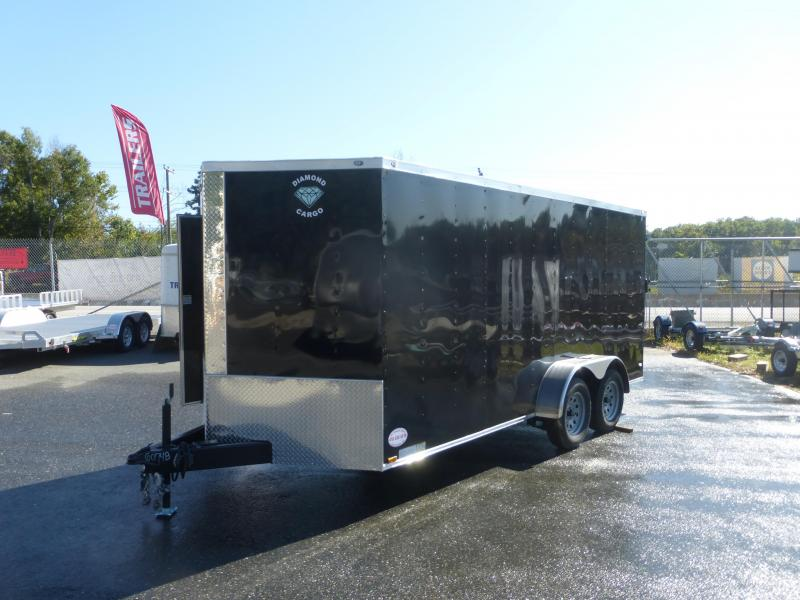 Diamond Cargo 7' x 16' Black Tandem V-Nose Enclosed Trailer w/Ramp