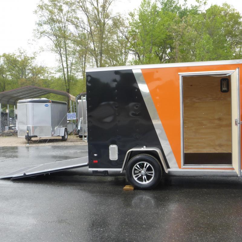 Covered Wagon Orange/Black 6' x 10' V-Nose Enclosed Trailer w/ Ramp