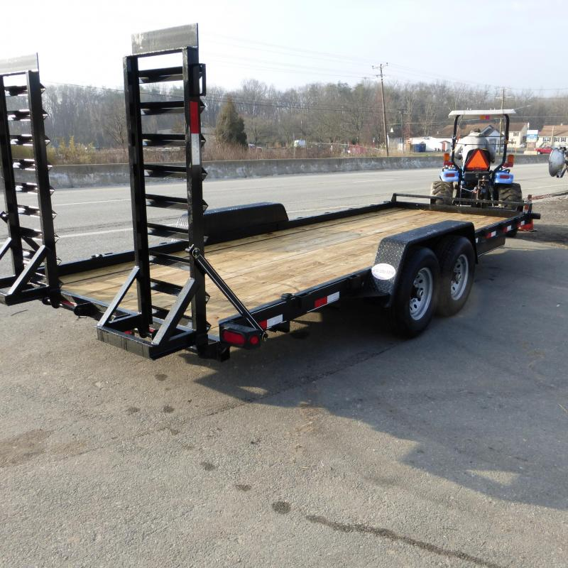 Quality 7' x 18' Fender Skidsteer Equipment Trailer 12K w/Tool Tray & Lid