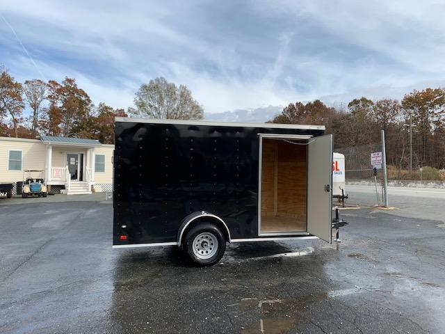 Covered Wagon 7x12SA Black Enclosed Cargo Trailer with Ramp & Braking Axle