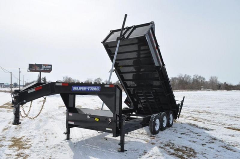 "2020 Sure-Trac 82"" x 16' Low Profile Telescopic 21K GooseneckDump Trailer For Sale"