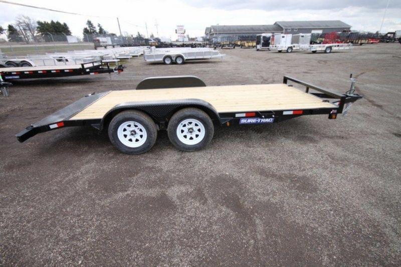 "2019 Sure-Trac 82"" x 16' Wood Deck Car Trailer For Sale"