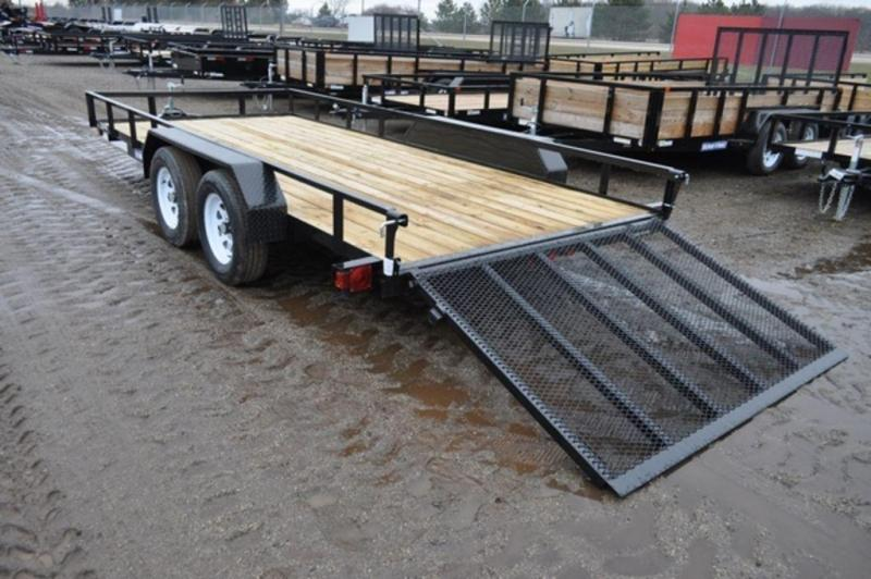 2019 Sure-Trac 7 x 16 Powder Coated Angle Iron Tandem Axle Utility Trailer For Sale