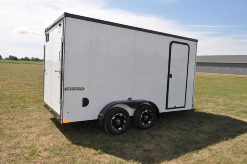 2019 Impact 7 x 14 White Enclosed Cargo Trailer w/ Black Out Trim For Sale