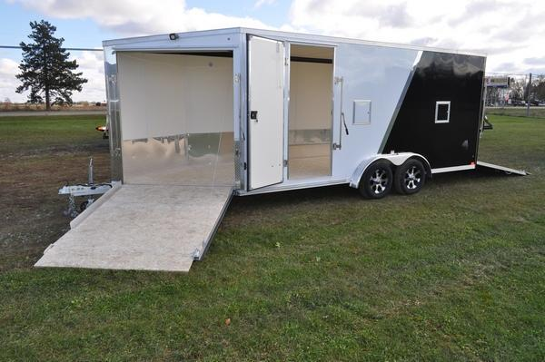 2020 Haul-it All Aluminum 7.5 x 23 Two Tone Enclosed Snowmobile Trailer For Sale