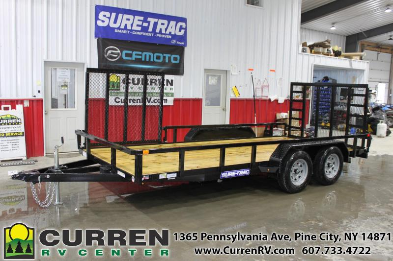 2020 SURE-TRAC 7x16 7k Tube Top Utility Trailer with Side Ramp and Ladder Reinforced Rear Ramp - ST8216TAT-B-070