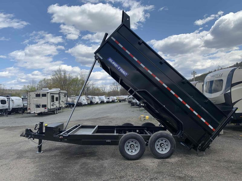 2020 SURE-TRAC 7x14 14k Telescopic Hoist Dump Trailer with 4 ft Tall Sides - 12k Jack Drop Leg Jack - Ramps - Battery Charger - ST8214TLDD4-B-140