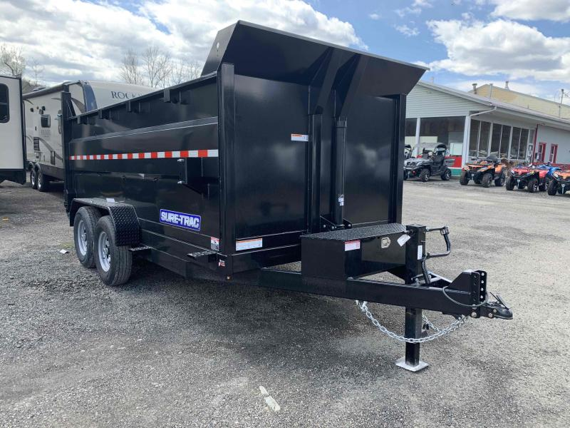 2020 SURE-TRAC 7x14 14k Telescopic Hoist Dump Trailer with 4 ft Tall Sides - 12k Jack Drop Leg Jack - Ramps - Battery Charger - ST8214TLDD4-B-140