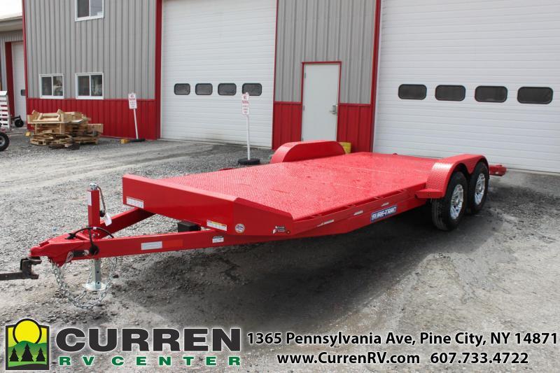 2020 SURE-TRAC 7x20 10k Steel Deck Car Trailer - Drop Leg Jack - Red - ST8220CHS-B-100