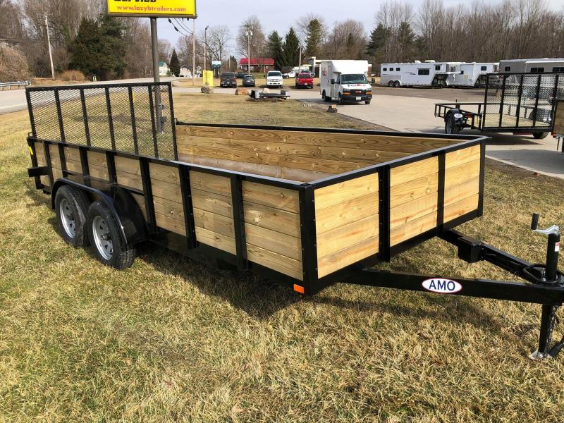 """2020 American Manufacturing Operations (AMO) 6'8"""" x 16 Wood High Sides Utility Trailer"""